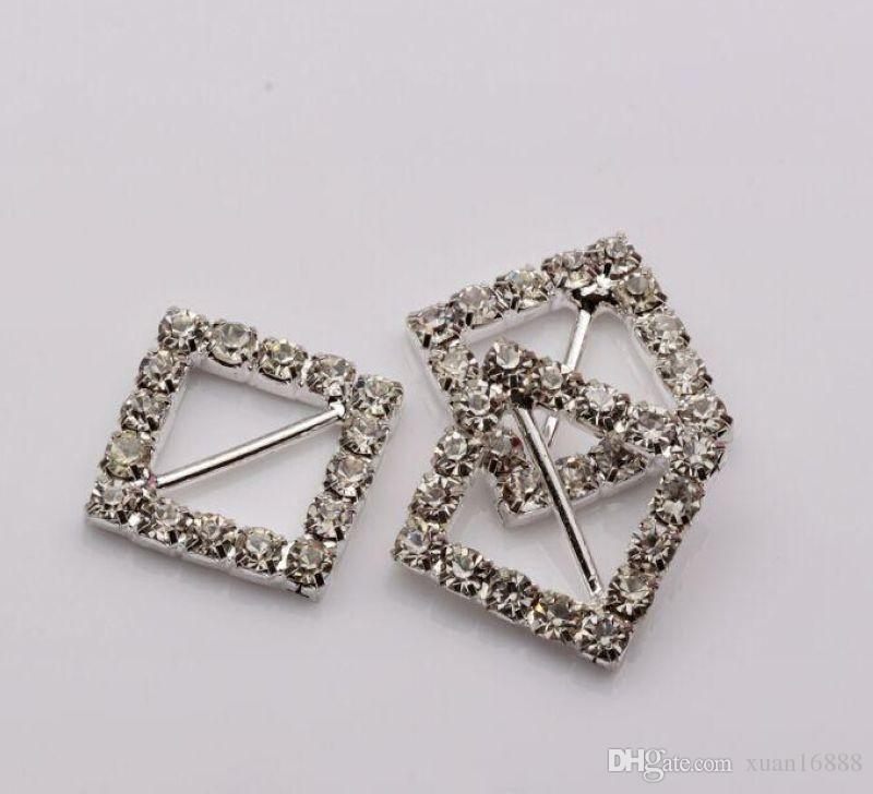 تنزيلات حاره ! التي عرس مربع Invitatin بلينغ الماس الشريط المنزلق مشبك 21.5 * 21.5mm ، شريط 11MM