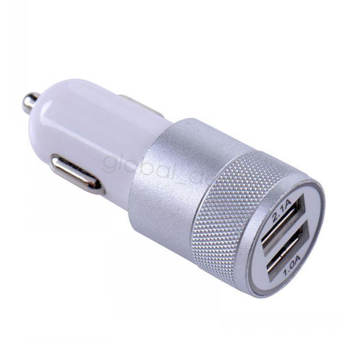 Metal Dual USB Port Car Charger Universal 12 Volt / 1 ~ 2 Amp for Apple iPhone 5s 6 iPad iPod / Samsung Galaxy / Motorola Droid Nokia Htc