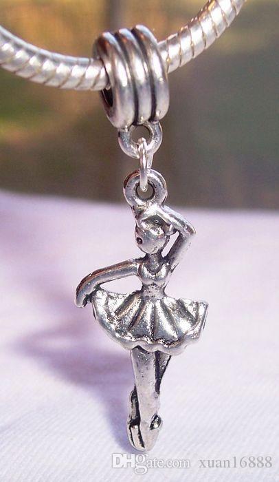 Hot ! Antiqued Silver Ballerina Ballet Dancer Dance Dangle Bead for European Charm Bracelets 44 mm x 14 mm