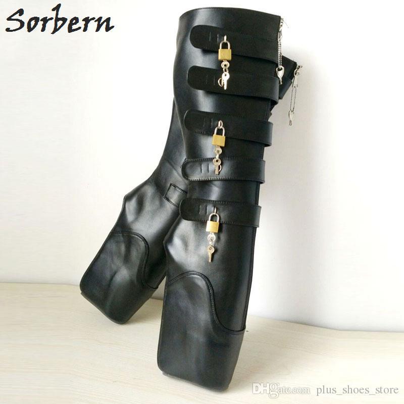 "New Ballet Boots Unisex Shoes 18cm/7"" Super High Heel Wedge Hoof Heelless Fashion Sexy Fetish Slave 10keys Lockable Knee High Boots"
