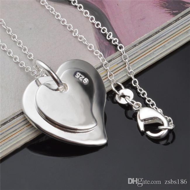 Ucuz moda takı 925 ayar gümüş çift kalp kolye kolye sevgililer Günü hediye kızlar için ücretsiz kargo