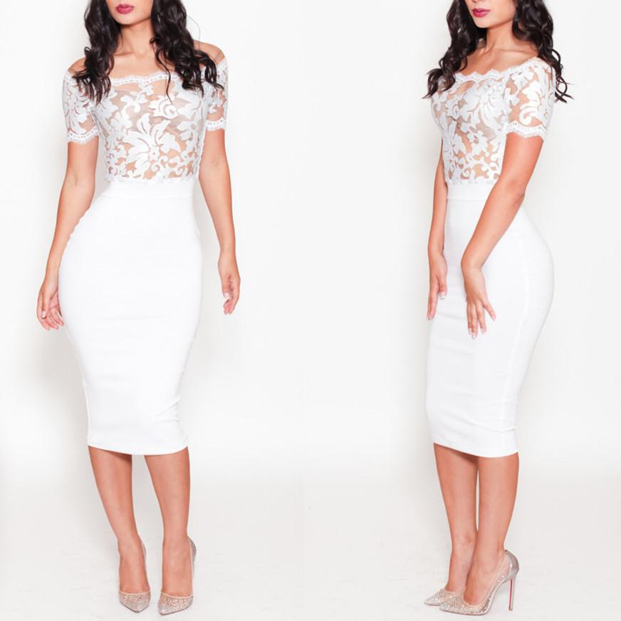 Sexy Women White Lace Bandage Dress Off Shoulder Flower Embroidered