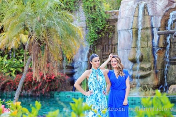 Adorável Das Mulheres Vestidos de Cocktail Longo Vestidos de Baile Azul Royal Chiffon V Neck Mangas Compridas Mangas Curtas Barato de Alta Qualidade Vestido de Festa
