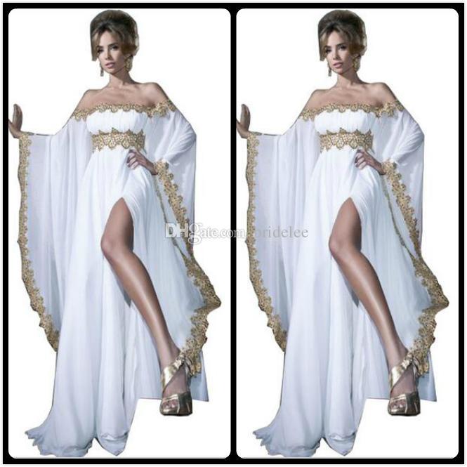 2020 style arabe à manches longues en dentelle d'or et appliques blanches en mousseline de soie Abaya caftan robes de soirée avec la haute fente femmes robes
