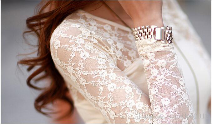 New Arrival Ladies' Spring Autumn Casual Cotton Lace Long Sleeve T Shirt V Neck Patchwork Blouse