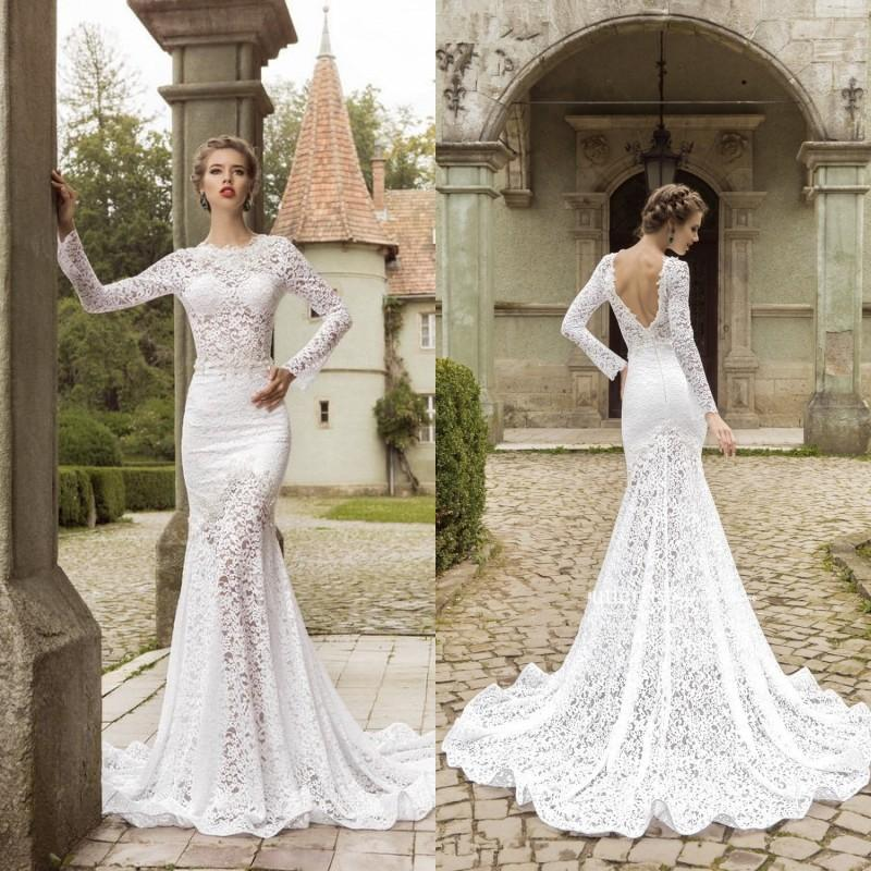 Discount Simple Elegant Open Back Long Sleeve Wedding: 2018 Plus Size Wedding Dresses Long Sleeve Vintage Lace