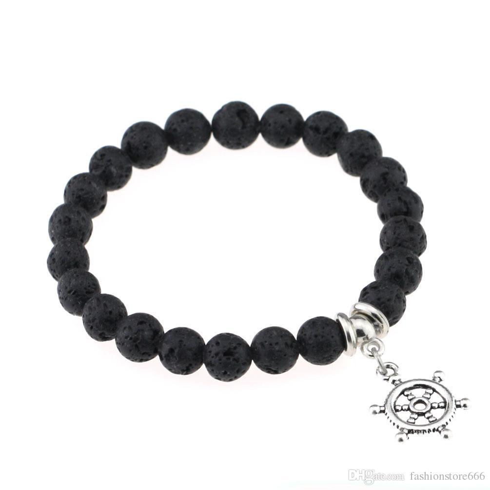 Mode Black Lava Pierre Naturelle Bracelets Croix La Vie De L'arbre Coeur Charme Huile Essentielle Diffuseur Bracelet pour Hommes Femmes Bijoux
