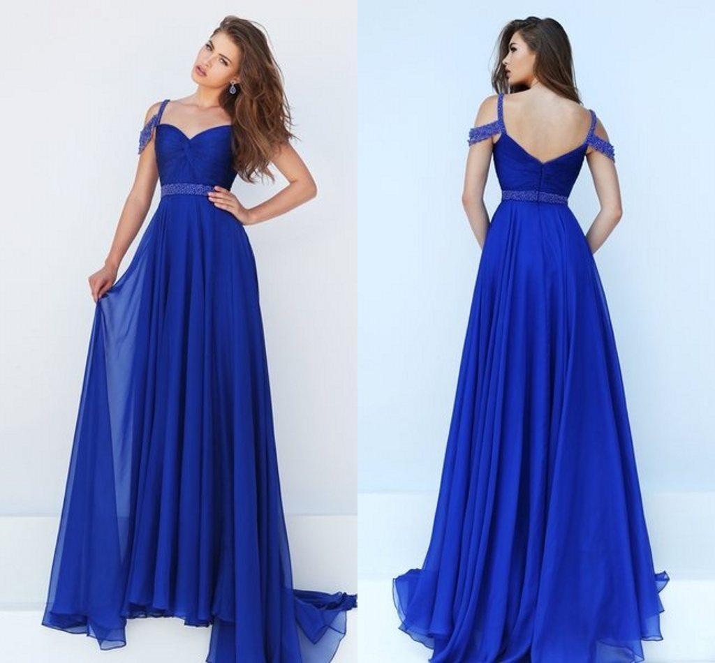 Royal Blue Prom Dresses Off Shoulder Backless Beads Sashs Cocktail ...