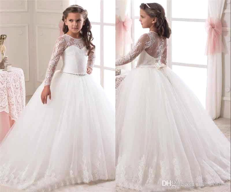 Illusion Long Sleeves Flower Girls Dresses 2016 Lace Appliqued Bow ...