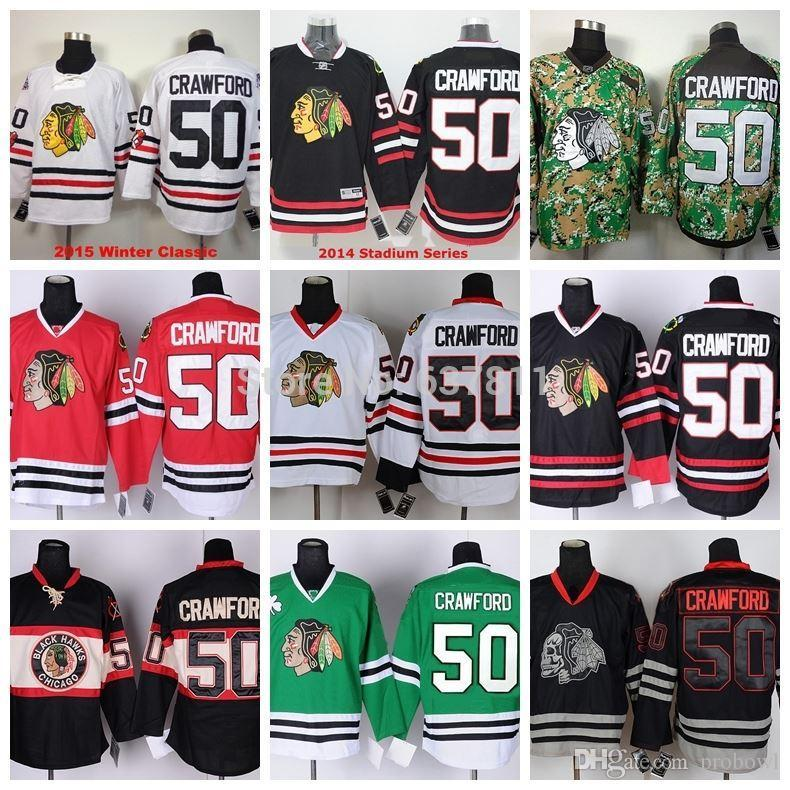 0f1004ef355 2015 Men s Chicago Blackhawks Hockey Jerseys  50 Corey Crawford ...