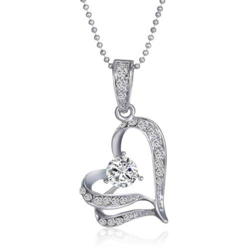 Fashion Pendant Necklaces statement Women Jewelry party Chains Swarovski Crystal Silver Love Heart Leaves Pendant Chain For Wedding Bridal