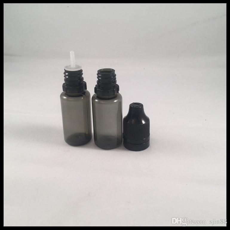 Bottiglia di flaconcino nero PET da 10ml e bottiglia di liquido con tappo antimanomissione e contagocce a punta di ago