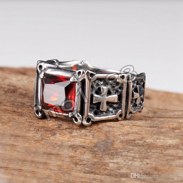 Red CZ Stone Aço Inoxidável Cruz Mens Punk Design Biker Gothic Ring