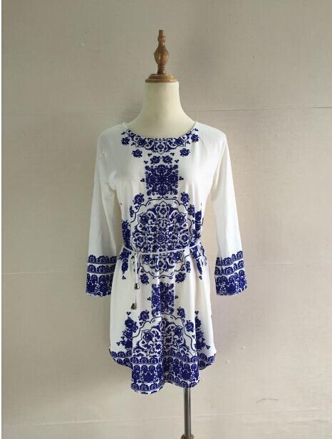 Women Dresses Summer 2015 Fashion New Sexy Mini Digital Printing Women's Blue and White Long-sleeved Dress Chiffon Womens Casual Dresses