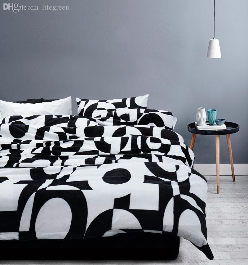 Großhandel Wholesale Warm Flanell Bettwäsche Sets Schwarz Weiß