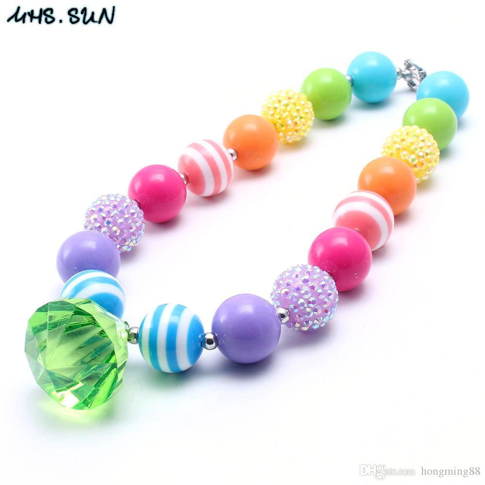 722be75a7f17 SUN Primavera Brillante Color Niño Chunky Collar Niñas Moda Bubblegum Bead  Chunky Collar Joyería Regalo Para Niños Pequeños A  4.21 Del Hongming88