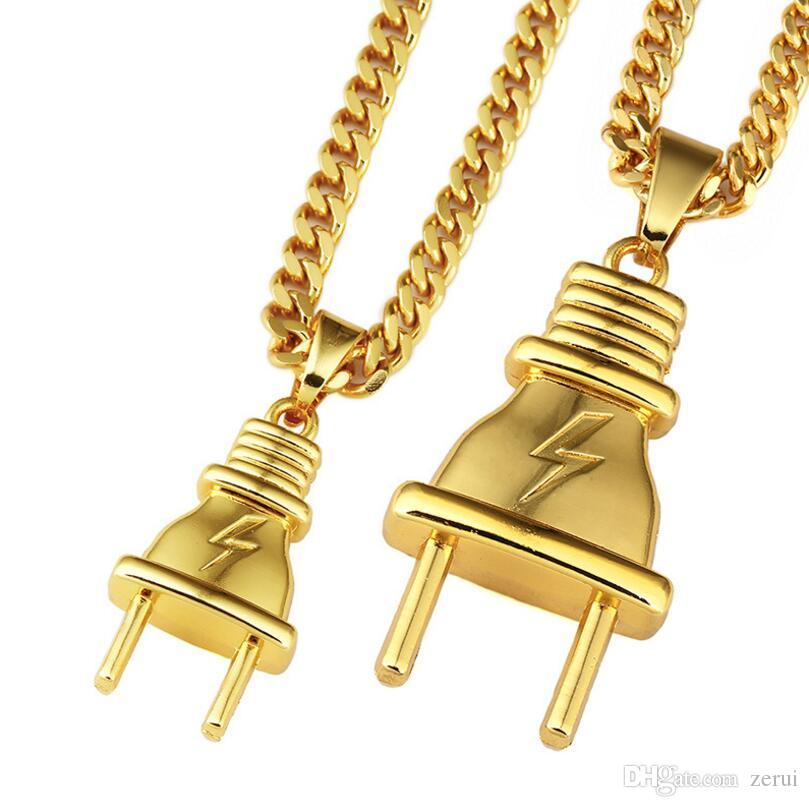 Wholesale Luxury Golden Electrical Plug Pendants Necklaces Men Women ...