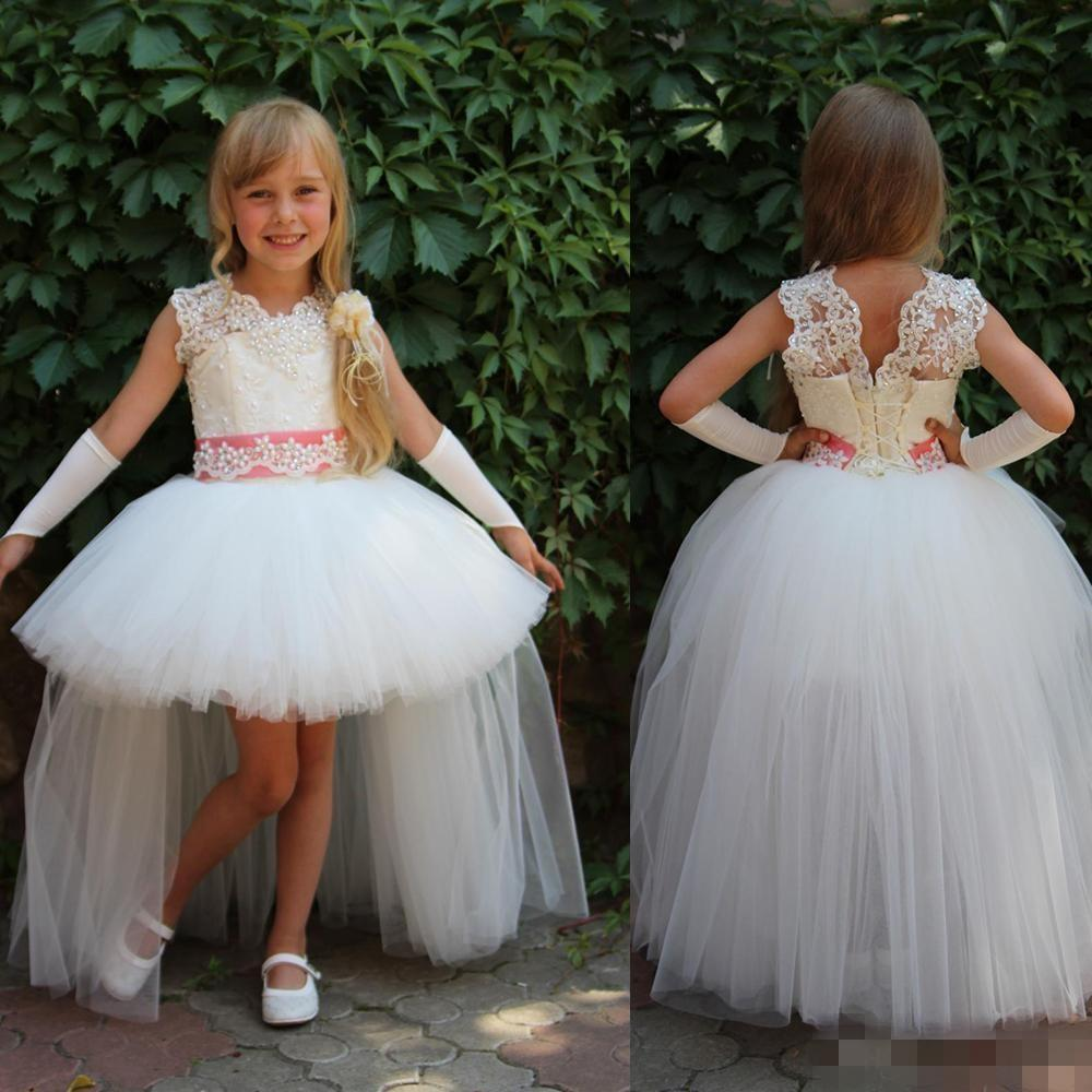 e068ca7ebb3 2016 New White Tulle Flower Girl S Dresses Lace Long High Low Pearls ...