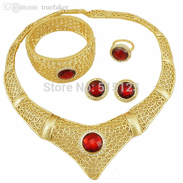 Wholesale-blue stone big fine jewelry 18K gold african gold jewelry sets color stone women necklace jewery set