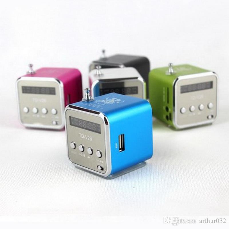 TD-V26 Mini Portable Carte Micro SD TF Disque USB Haut-parleur Lecteur MP3 Amplificateur MP3 Radio Antenne Stéréo Radio avec LED multicolore clignotante