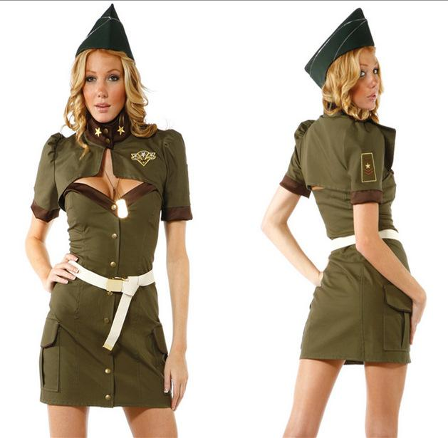 2017 Army Green Dress Halloween Costumes Female American Spy Suit ...
