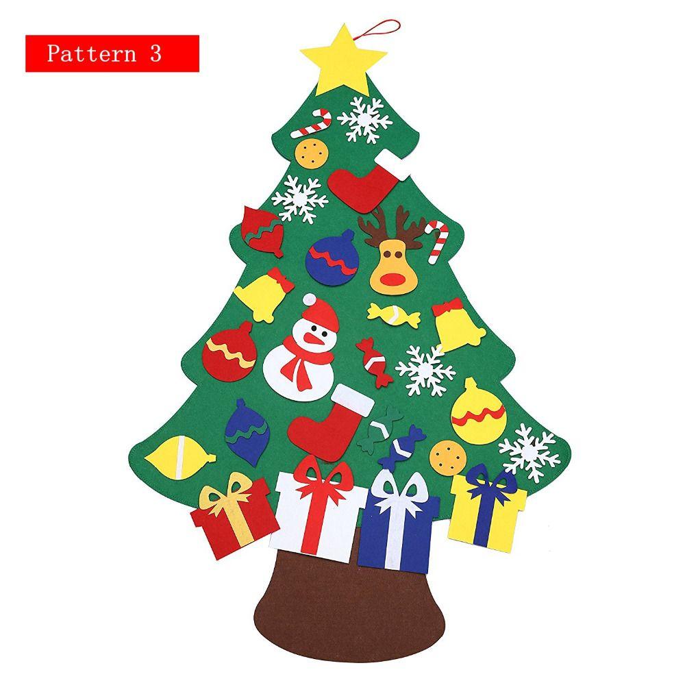 2017 New Kids Diy Felt Christmas Tree Set With Ornaments Children ...