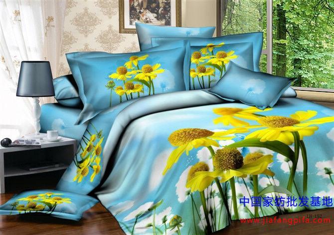 3d Yellow Daisy Bedding Set Blue Floral Flower Queen Size