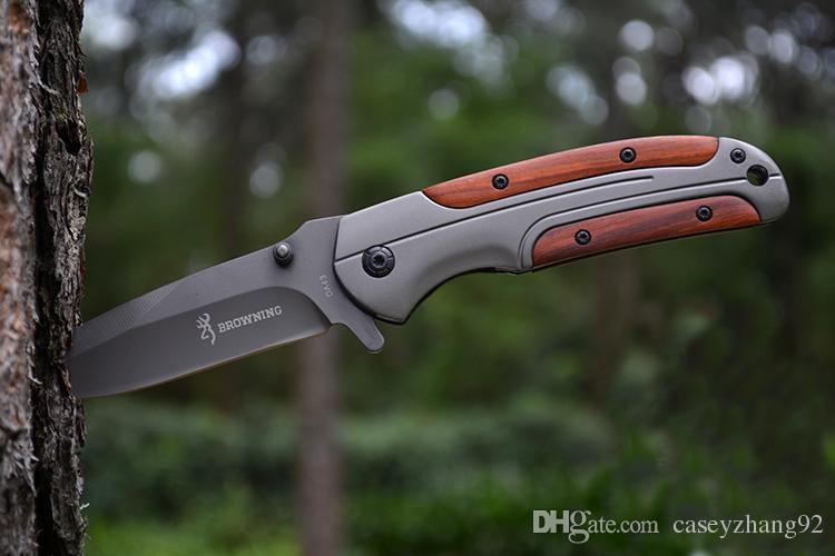 Browning DA43 Klappmesser 3Cr13 Klinge Palisander Griff Titan Taktisches Messer Tasche Camping Werkzeug schnell offen Jagdmesser Überlebensmesser