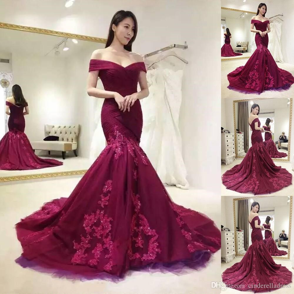 2018 Burgundy Evening Dresses Off The Shoulder Mermaid Applique Lace Beaded Custom Made Prom Gowns For Christmas Party Wear