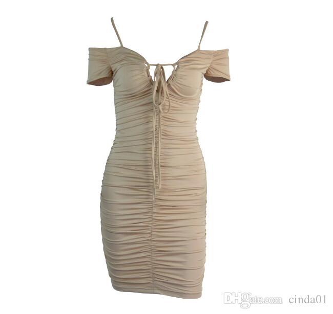 Kadınlar Seksi BODYCON Elbiseler V yaka Bandaj Tasarımı Parti Abiye Kılıf Backless Giyinme