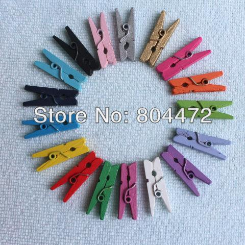"1000x Assorted Color Wedding Party Decoration Gift Favor Packaging Mini Wood Craft Clothespin 25 mm 1"" Wooden Clothes Peg"