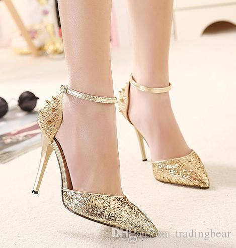 Celeb style glitter gold rivets shoes 2015 women pumps ankle strap leopard shoes sexy high heels designer shoes size 35 to 40