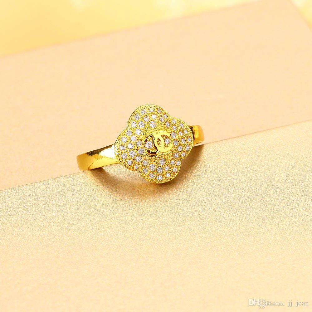 De calidad superior a estrenar Anillos 24 K oro amarillo plateado clásico Comfort Fine Jewelry Charms CZ para mujeres Wedding Engagement Party envío gratis
