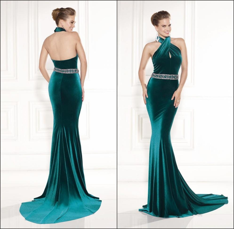 2016 Hot Sexy Long Formal Green Evening Gowns Halter Neck ...