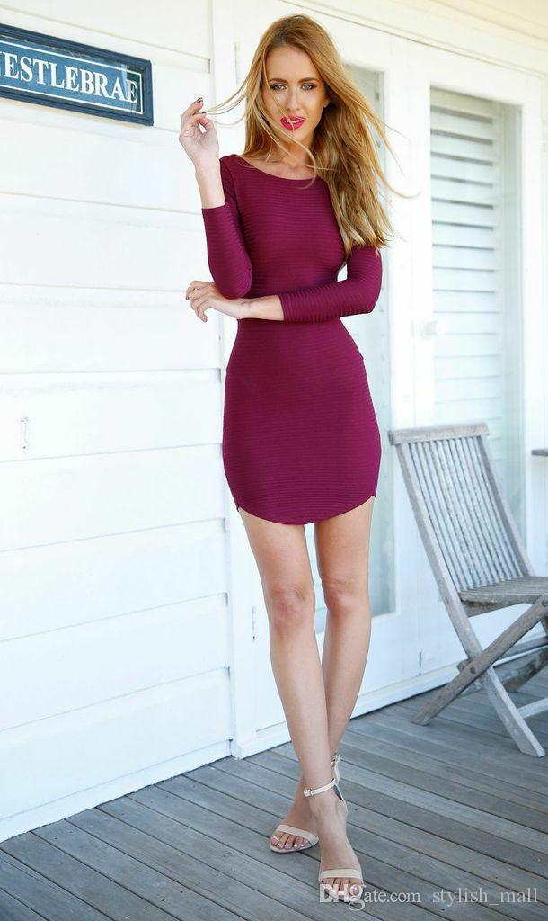 Hot Sale Bandage Bodycon Dress Outfit Cross Back Long Sleeve Wine Red Bodysuit Sexy Women Club Casual Bandage Dresses E86