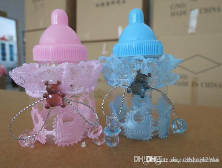 New Baby Shower Favors Blue Pink Milk Bottle Candy Box With Bear