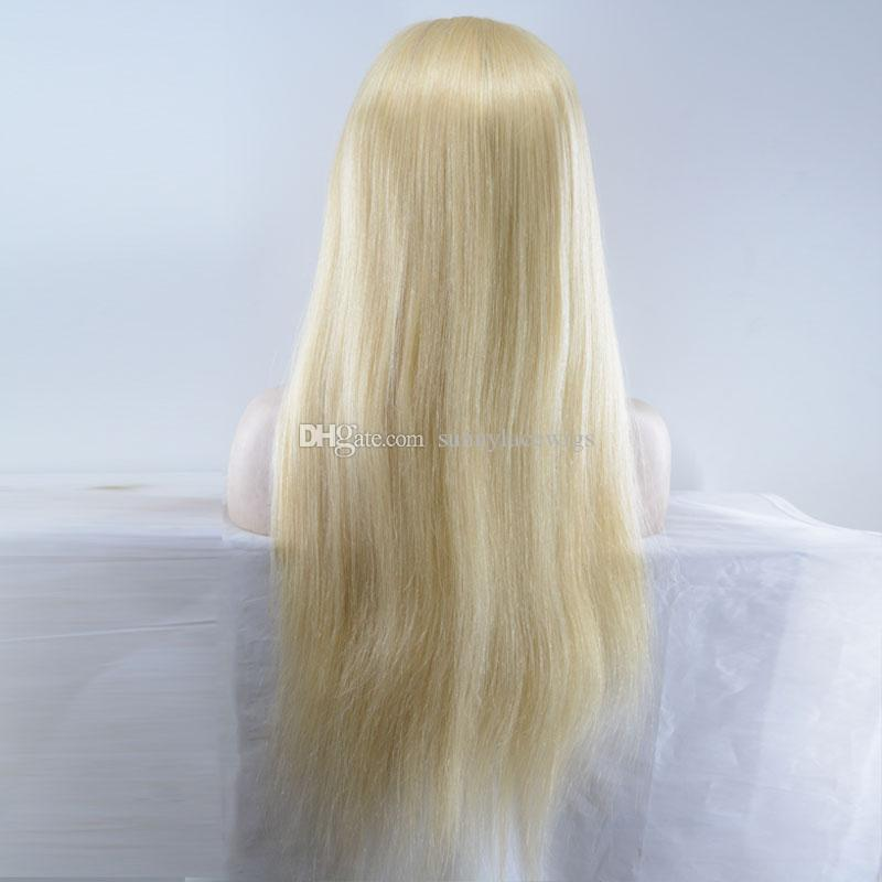Brazilian High Quality 613Blonde Full Lace Wig Glueless Lace Front Wig natural silky straight Human Hair Wig With free parting