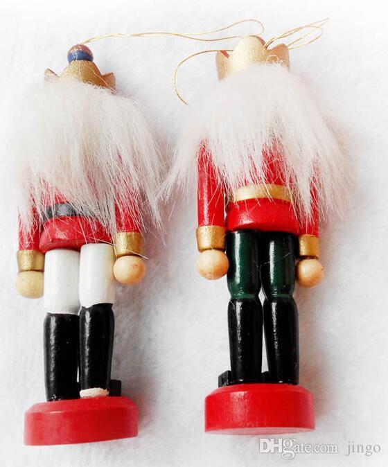 Decoración Muñecas cascanueces de marionetas de Zakka creativo de escritorio de madera de 12 cm Barra de Navidad adornos dibujo Nueces soldados de madera muñeca nt