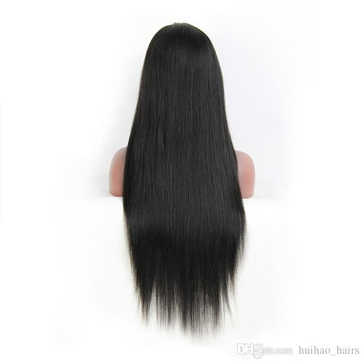 8A Brazilian Full Lace Wig Cap Swiss Lace Human Hair Wig Natural Black Color Straight Hair Wigs for Black Women