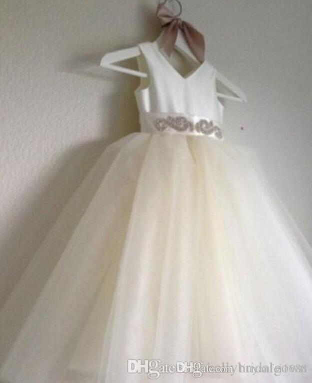 2015 Real Picture Bridal Flower Girl Dresses Tulle Beaded Sash Floor Length Toddler Wedding Party Dresses for Child Kids Pageant Gowns
