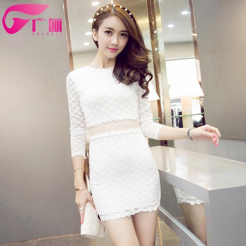Compre Las Mujeres Coreanas Dongguk Puerta Otoño Vestido De Encaje ...