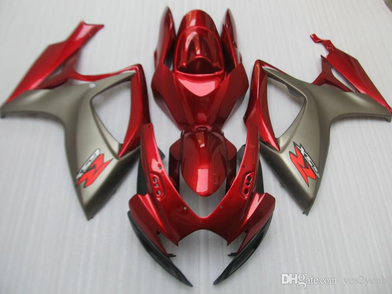 Carcaças de injecção Carroçaria para SUZUKI GSXR600 750 2006 2007 GSXR600 GSXR750 K6 06 07 GSXR 600 GSXR 750 Cinzento vermelho Kit de carenagem gg69