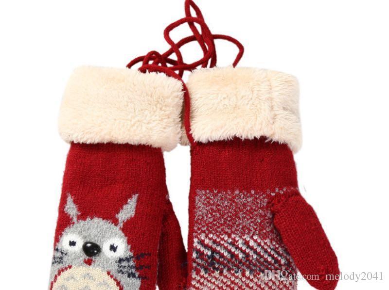 Новый мультфильм милый шиншилла трикотажные перчатки для девочек женщин размер 5 цветов крючком плюс бархат зимние варежки с подвесной веревкой