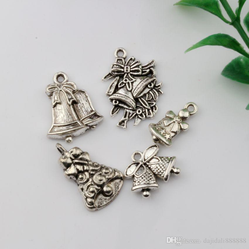 MIC 100 шт. Античное серебро смешанные рождественские Болл лязг очарование подвески DIY ювелирных изделий