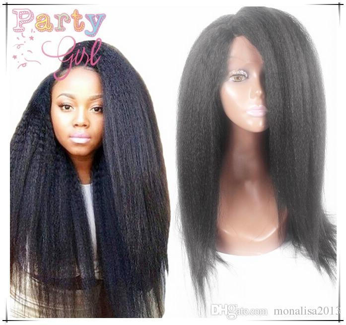 7A Cheap Italian Yaki Glueless Full Lace Human Hair Wigs For Black Women Brazilian Virgin Remy Kinky Straight Lace Front Wigs