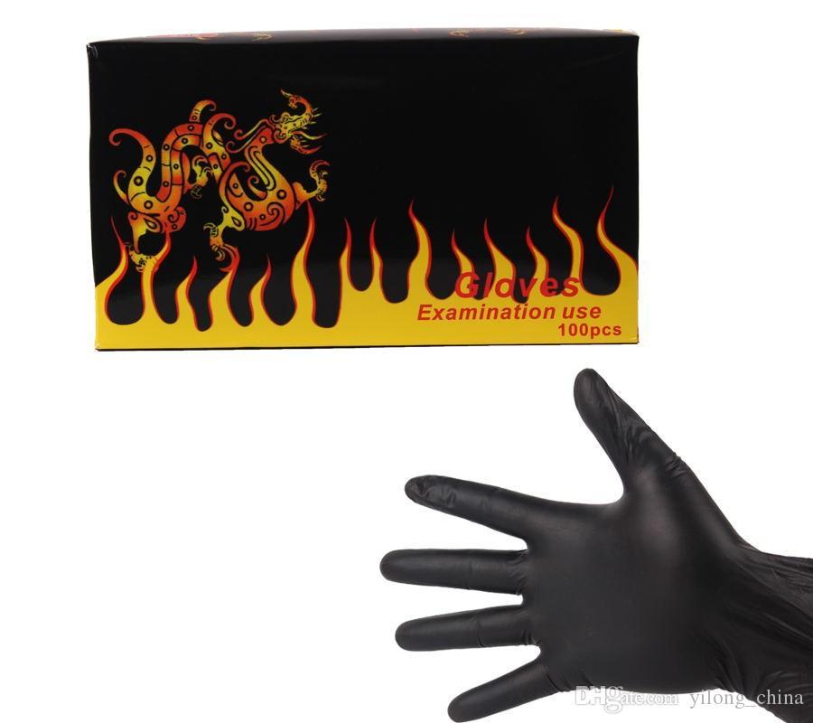 YILONG 100 ADET Yüksek Kalite Siyah Tek Kullanımlık Dövme Lateks Eldiven Mevcut Boyut Aksesuarları Ücretsiz Kargo Dövme BodyArt