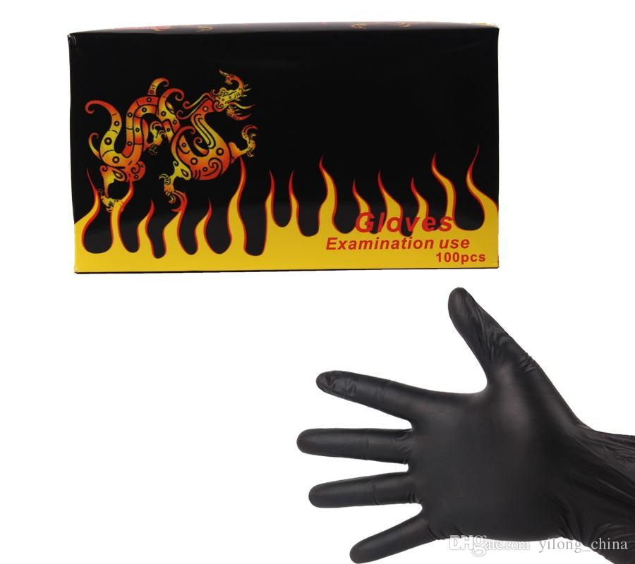 YILONG High Quality Black Disposable Tattoo Latex Gloves Available Size Accessories Tattoo Body&Art