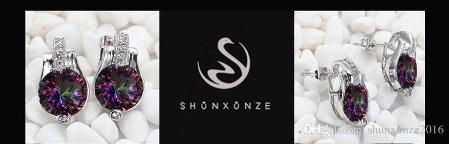록 새로운 도착 프로모션 베스트 셀러 MN721 좋아하는 레인보우 파이어 미스틱 큐빅 지르코니아 싱잉 구리 로듐 도금 패션 귀걸이