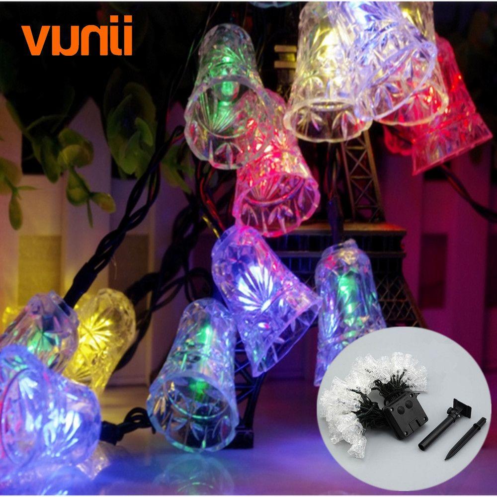 wholesale yunji 65m 30 led solar christmas lights ip65 xmas bells solar fairy string lights for outdoor garden patio party decoration string lights indoor
