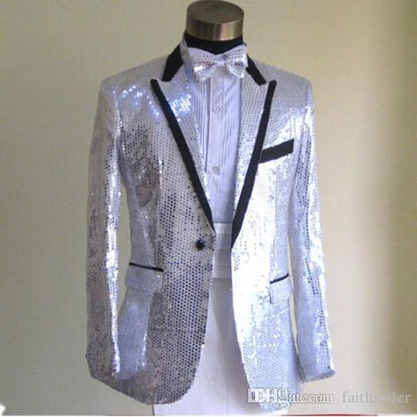 Роскошные блестки смокинги для женихов женихи одна кнопка остроконечные лацкан с черными полями мужские свадебные костюмы куртка + брюки+лук фактические изображения